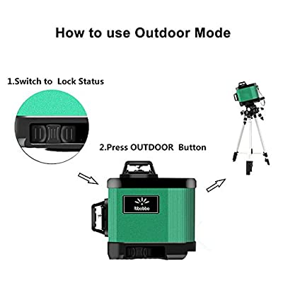 XKYU laser level 360 Self-leveling Cross Line 2D/3D Laser Level Green Beam?360 Rotary Kit with Outdoor Mode And Tilt Mode