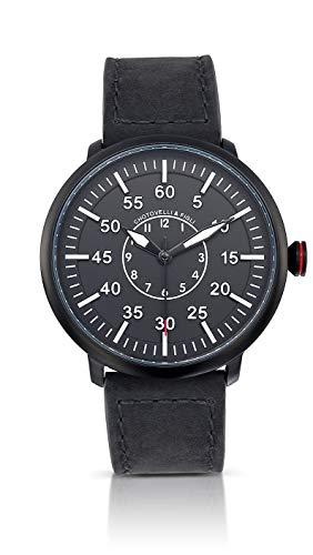 Military Pilot Watch - Auto-Quartz Movement, Vintage Suede Leather Strap,Flieger 1919B ()