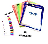 Dry Erase Pocket Sleeves Reusable, Assorted Colors(20pack) + 20 Multicolored Dry Erase Markers with Pen Holders, Great for Teachers,Children, Home or Office by TRU2 Products