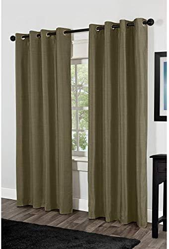 Exclusive Home Shantung Faux Silk Blackout Grommet Top Curtain Panel Pair