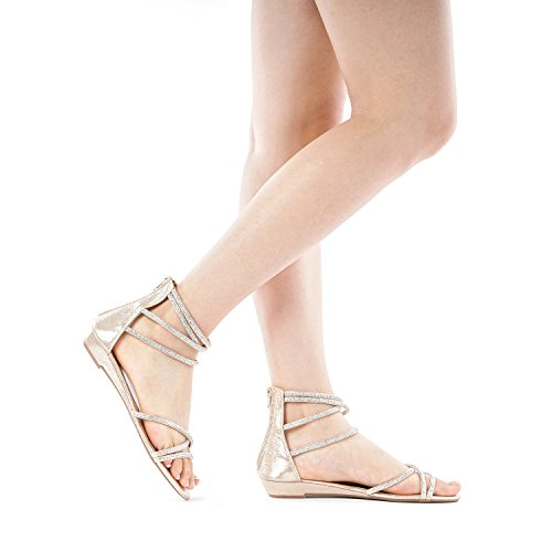 fe707d64741 DREAM PAIRS Women s Weitz Ankle Strap Rhinestones Low Wedge Sandals ...