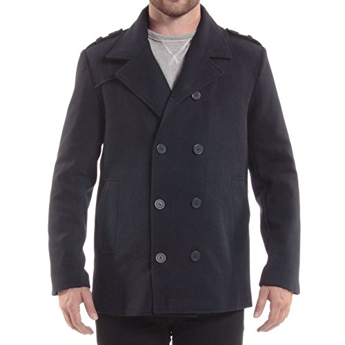 alpine swiss Jake Mens Wool Pea Coat Double Breasted Jacket Navy (Us Navy Style Mens Peacoat)