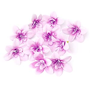 flently 10Pcs Orchid Flower Head Flower Artificial DIY Crafts for Wedding Party,Office, Home Decorations (Light Purple) 82