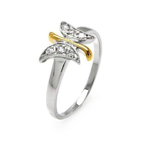 Clear Pave Set Cubic Zirconia Two Tone Butterfly Ring Rhodium Plated Sterling Silver Size 5