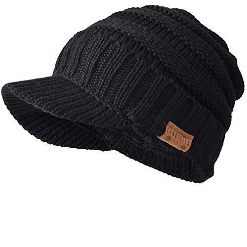 FORBUSITE Men Stripe Knit Visor Beanie Hat for Winter (B320-1-Black)