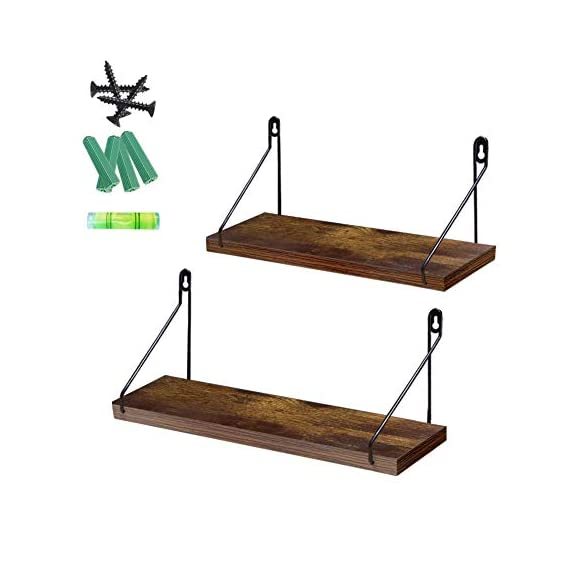 Giftgarden 2 Pack Floating Shelves Rustic Wall Mounted Storage Shelf for Kitchen, Living Room, Bedroom, Office Room - Practical and Elegant - Save your space and to holding Collectibles, Book, Small Plants, stuffed animals and more, the item arrangement will be more hierarchical feel. Durable Wall Shelves- Wood Wall Storage Shelf constructed of durable MDF laminate wood and metal brackets. Widely Used- It is one of the best choices if you want to add extra shelving space in Bedroom, kitchen, living room, office room, bar, cafe, and other indoor to store organize small items or display art crafts. - wall-shelves, living-room-furniture, living-room - 41LVa5vn2jL. SS570  -