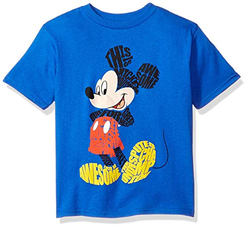Disney Little Boys' Mickey Mouse Short Sleeve T-Shirt, Blue, 7