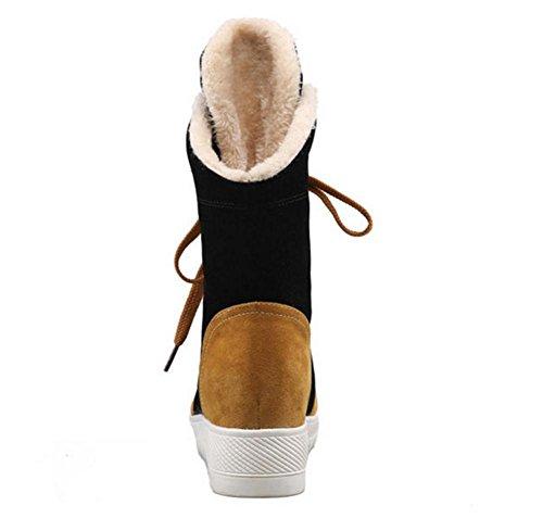 Mujeres Botas de nieve Plano Nike Dunk Sky Hola Ocio deportivo Cómodo Mantener caliente parte inferior gruesa Antideslizante Cordón Color de lucha Otoño invierno Al aire libre Black