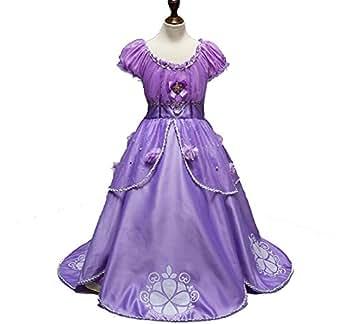 Yongli COS Store Purple Sofia Little Girls Princess Dress Costume Halloween Dress Up (130cm)