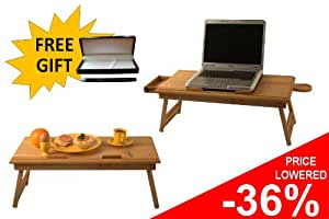 Laptop table, Adjustable Laptop Table, Portable Folding Laptop Table, Folding Wooden Laptop Table, Folding Solid Wood Notebook Laptop Table, Breakfast Tray ** VISTABLE DUO + Drawer and Mug Pad ! FREE NAME ENGRAVEMENT + FREE GIFT !
