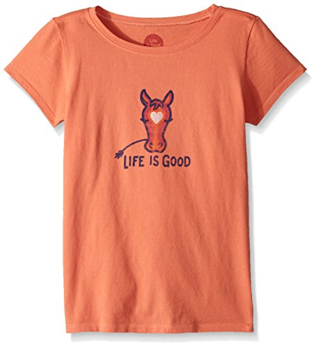 Life is Good Girl's Crusher Horse Love, Fresh Coral, Medium