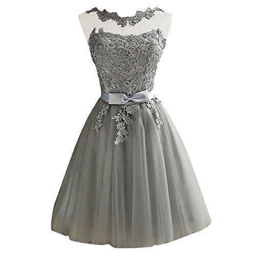 iShine Vestido Corto Verano para Mujer de Fiesta Floral con Arco Cintura de Novia Coctel Vestido Gris