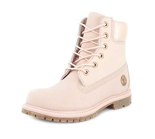 Timberland Womens 6 Premium Boot Light Pink Nubuck/Metallic Collar