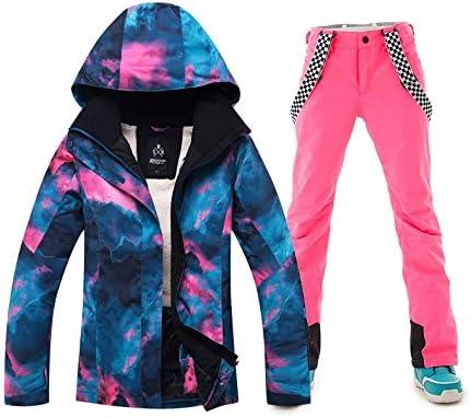 CAFUTY スノーバードアウトドアハイキングのための女性のマウントスキージャケットとパンツ防水防風スノースーツ ピンク Large