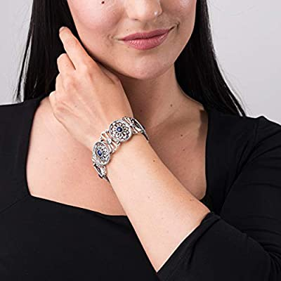 American West 925 Silver Concho Link Bracelet- (Gemstone & Size Options) - Classics Collection