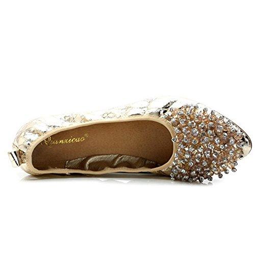 AalarDom Damen Ziehen Auf Spitz Zehe Ohne Absatz Weiches Material Flache Schuhe Golden-Perlenschnur