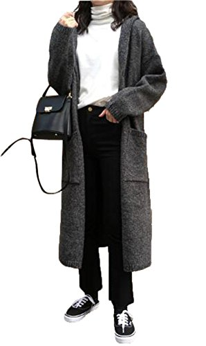 GuDeKe 春 レディース カーディガン ロング ニット トップス ニットセーター コート 長袖 フード付き カジュアル 着痩せ ゆったり 柔らかい
