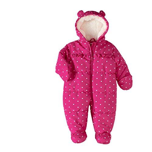 Carters Baby Girl Pram Puffer Snowsuit Cold Weather Child (Dk Pink Heart, 3-6 (Pink Baby Prams)