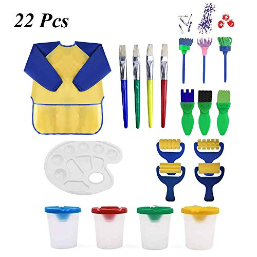 Kids Painting Drawing Tools, 22 pcs Paint Sponges Set for Kids, Mini Flower Pattern Brushes, Plastic Palettes, Waterproof Art Smock Aprons and Sponge Foam Brushes for Toddlers Early DIY Learning Toys