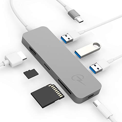 CharJenPro USB C Hub, 7-in-1 USB-C Hub with HDMI 4K, SD, MicroSD, 3 USB 3.0, USBC PD for MacBook Pro 2019/2018-2016, iPad Pro 2019/2018 (Type C Hub, USBC Hub, USB Type C Hub, USB C Hub HDMI) (Best Usb C Hub For Macbook Pro)