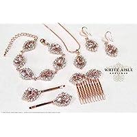 Blush Rose Gold Wedding Jewelry Set Swarovski Crystal Custom Pendant Earrings Bracelet Hair Comb Hair Pins