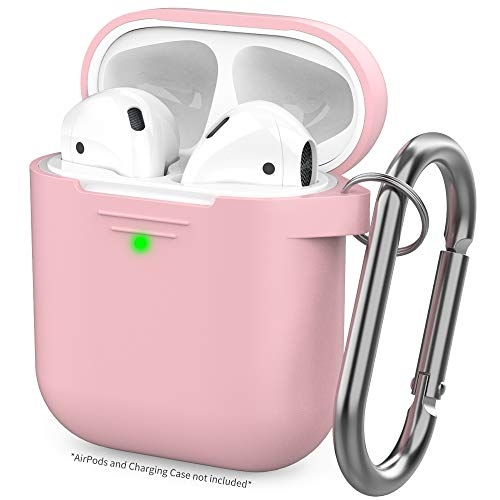 (AhaStyle Upgrade AirPods Case Protective Cover (Front LED Visible) Silicone Compatible with Apple AirPods 2 and 1(Pink))