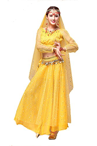 YYCRAFT Women's Halloween Costume Tops Skirt Set with Accessories Belly Dance Performance Outfit-Style A,Yellow -