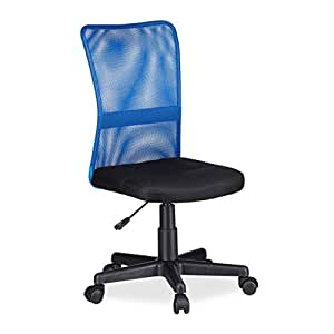 Relaxdays silla oficina ergon mica regulable tela azul for Silla ergonomica amazon