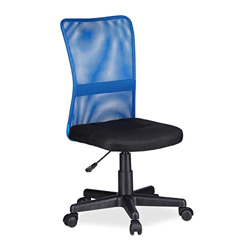 - Relaxdays Office Desk Chair, Height-Adjustable Kids Swivel Chair, Comfortable, 90 kg Capacity, HWD: 102 x 55 x 55 cm, Blue