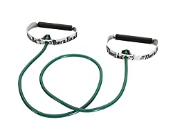 Theraband Professional Latex Resistance Tubing With Handles For Exercise, Physical Therapy, Lower Pilates, At-home Workouts, & Rehab, Hard Handles, 48 Inch, Green, Heavy, Intermediate Level 1