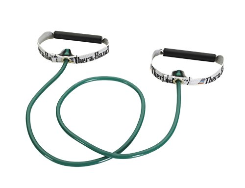 TheraBand Resistance Tubes with Hard Handles, Professional Latex Elastic Tubing for Exercise, Physical Therapy, Pilates, At-Home Workouts, & Rehab, 48 in., Green, Heavy, Intermediate Level 1