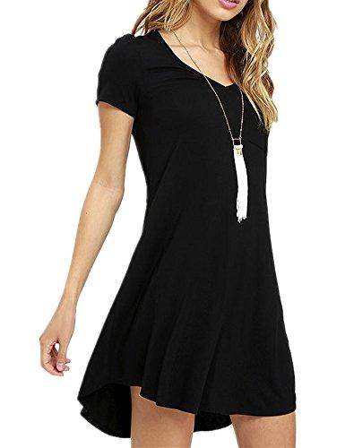 Haola Women's Summer Short Sleeve V Neck Shirt Dress Cute Pocket Loose Dress M Black