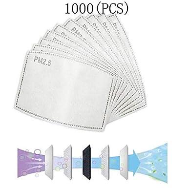 1000PCS PM2.5, filtro de carbón activado protector de 5 capas reemplazable, papel de filtro externo antivaho, antibacteriano, antivaho, a prueba de polvo, filtro de máscara.
