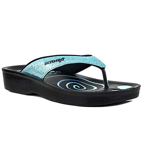 Aerosoft Gliteratti Orthotic Soft Open-Toe Comfortable flip-Flop