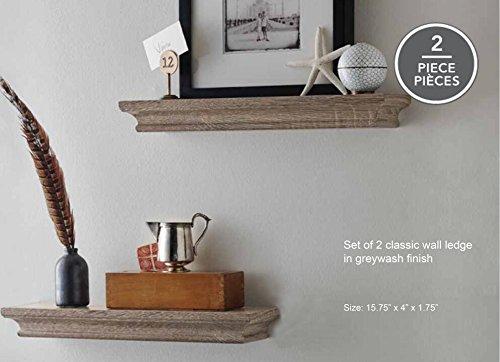 LightStan Decorative Wooden Display Floating Wall Shelf Set Grey Wash Finish of 2 pcs (Finish Wash)