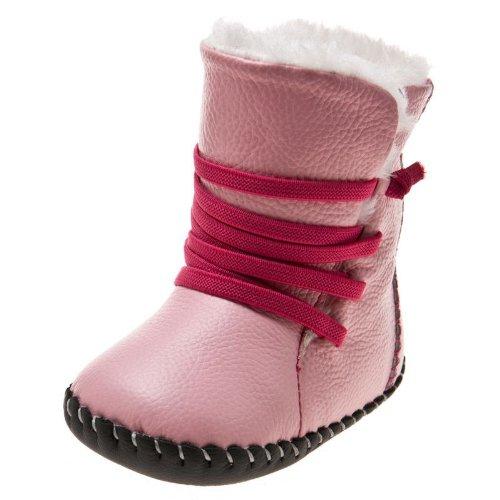Little Blue Lamb - Chaussures premiers pas cuir souple fille | Bottes rose lacets fushia Taille: 6-12 mois