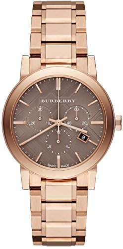 Burberry Unisex Men Women Watch The City SWISS LUXURY Round Rose Gold Chronograph Grey Date Dial 38mm BU9754