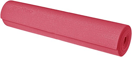 AmazonBasics Yoga & Exercise Mat with Carrying Strap, 1/4', Pink