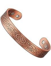 Wollet - (Anillo de cobre gratis) Pulsera celta magnética para el alivio del dolor ocasionado por la artritis, para hombre (16,5 cm)