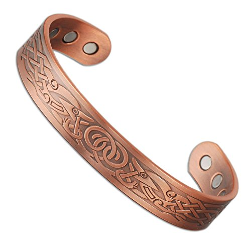 6.5'' Magnetic Copper Bracelets with 6 Magnets for Arthritis Men Women (Copper Color) (6.5 Inch Magnet)