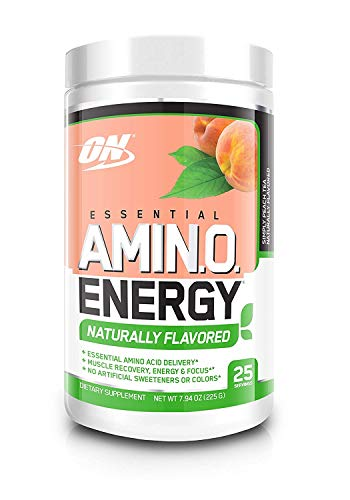 OPTIMUM NUTRITION Naturally Flavored ESSENTIAL AMINO ENERGY, Simply Peach Tea, Keto Friendly Preworkout and Essential Amino Acids with Green Tea and Green Coffee Extract, 25 Servings