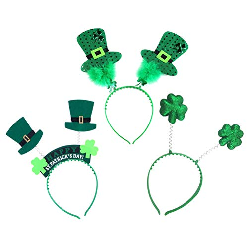- Amosfun 3pcs St Patrick's Day Headband Shamrock Hat Hair Hoop Headpiece for Holiday Decoration(Clover Bright Flake Head Button, Clover Top Hat Button, Clover Green Onion Button)