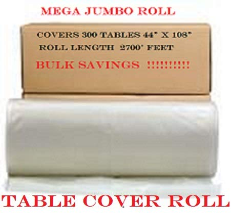 (QUALITY SUPPLIES DIRECT Plastic Tablecover Roll, White - Covers 300 Tables 108