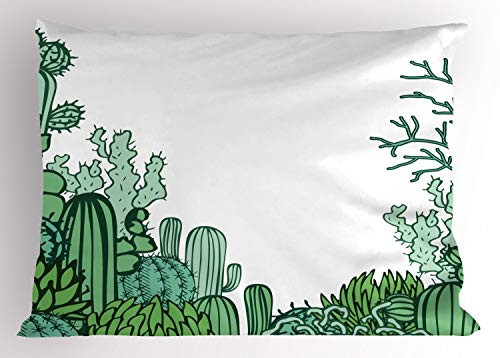 Ambesonne Cactus Pillow Sham, Arizona Desert Themed Doodle Cactus Staghorn Buckhorn Ocotillo Plants, Decorative Standard Size Printed Pillowcase, 26