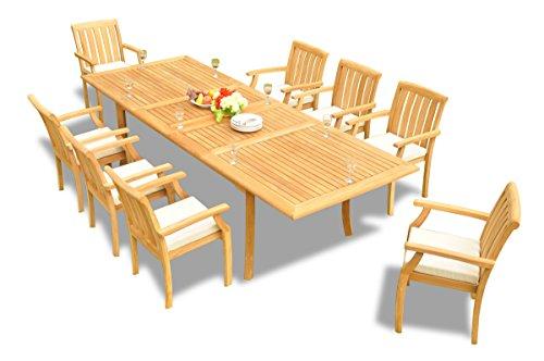 (New 9 Pc Luxurious Grade-A Teak Wood Outdoor Dining Set - 117