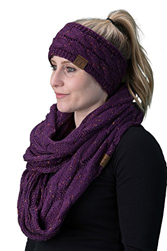 (dHWS-6033-40 Headwrap Scarf Set Bundle - Purple (Confetti))