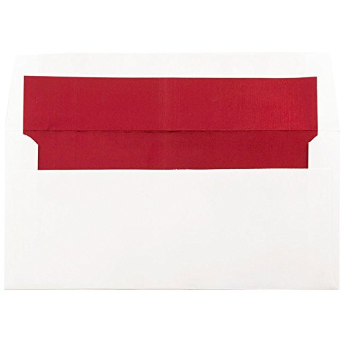 JAM PAPER 3 7/8 x 8 1/8 Square Foil Lined Invitation Envelopes - White with Red Foil - 25/Pack (Square Chinese Red Envelopes)
