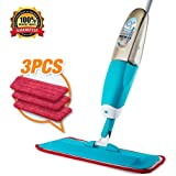 Mop, Spray Mop, Professional Spray Mop 360 Degree Rotation Wet Mop, Hardwood Floor Mop Kit with 3 Reusable Microfiber Pads & bottle, Dry and Wet Mop for Cleaning Hardwood and Floors
