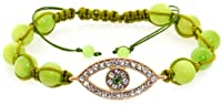 Royal Diamond Evil Eye Shamballa Bracelet (Green)