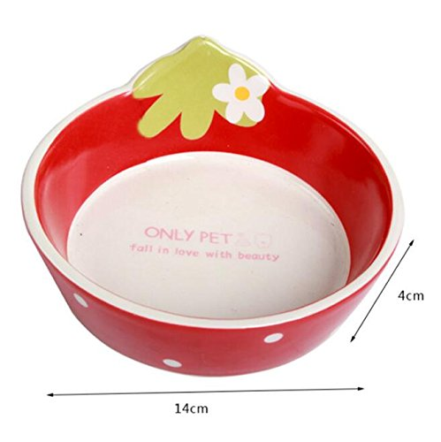 Pet bowls ceramic bowl Teddy VIP and other small pet earthenware glaze color tableware (Red)